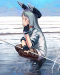 1girl bangs beach blue_hair blue_sky blunt_bangs commentary_request dress fingerless_gloves from_side fujibejifu gloves hair_ribbon hand_on_own_cheek headgear highres kantai_collection long_hair murakumo_(kantai_collection) ocean pantyhose red_eyes ribbon ripples sailor_dress shoal shoes sidelocks sky solo squatting waves
