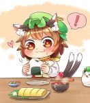 ! +_+ 1girl :3 animal_ears blush bowl brown_hair cat_ears cat_tail chen chopsticks closed_mouth drooling eating food food_on_face green_hat hat heart ibarashiro_natou jewelry long_sleeves mob_cap multiple_tails nekomata omelet onigiri rice rice_on_face short_hair single_earring solo soup spoken_exclamation_mark spoken_heart tail tamagoyaki touhou two_tails