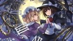 2girls armband backlighting black_cape black_hat black_skirt blonde_hair bow bowtie breasts brown_eyes brown_hair cape collared_shirt dress eye_contact fedora full_moon gears hat hat_bow highres holding_hands interlocked_fingers janne_cherry juliet_sleeves long_sleeves looking_at_another maribel_hearn mob_cap moon moonlight multiple_girls number parted_lips petals profile puffy_sleeves purple_dress red_bow red_bowtie roman_numerals sash shirt short_hair skirt smile touhou upper_body usami_renko white_bow white_hat white_shirt wing_collar yellow_eyes