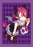 1girl absurdres black_legwear cheese_trail demon_girl demon_horns demon_tail demon_wings disgaea eating food grin highres horns kikimi makai_senki_disgaea_3 one_eye_closed pantyhose pizza pointy_ears raspberyl red_eyes redhead school_uniform short_hair skirt sleeveless slice_of_pizza smile solo tail wings