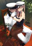 1boy 1girl admiral_(kantai_collection) blonde_hair blue_eyes blurry brown_legwear chair depth_of_field detached_collar gloves graf_zeppelin_(kantai_collection) hat highres kantai_collection leotard long_hair military military_uniform necktie pantyhose peaked_cap playboy_bunny_leotard sitting sitting_on_lap sitting_on_person thighband_pantyhose touyama_eight twintails uniform