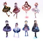 6+girls :3 :d ;3 animal_print ankle_boots ankle_lace-up arm_behind_back bag bangs bear_print belt big_hair black_bow black_bowtie black_dress black_gloves black_hair black_hat black_legwear black_shoes blonde_hair blue_bow blue_dress blue_eyes blue_hair blue_legwear blunt_bangs blush bob_cut bonnet boots bow bowtie braid brown_bow brown_bowtie brown_hair brown_shoes buckle capelet center_frills chain clenched_hands closed_mouth commentary_request cross-laced_clothes cross-laced_footwear crossed_legs dango double_bun dress drill_hair eyebrows eyebrows_visible_through_hair fang flat_chest food frilled_dress frilled_sleeves frills fringe full_body glasses gloves green_bow green_bowtie green_eyes grey_eyes grey_hair hair_bow hair_over_shoulder hand_up handbag hat hat_bow high_heels highres hime_cut holding holding_bag index_finger_raised jellyfish jellyfish_print kashiwa_mochi_(food) knees_together_feet_apart lace lace-trimmed_dress layered_dress legs_apart light_brown_hair lolita_fashion long_hair long_sleeves looking_at_viewer magnifying_glass mini_hat mini_top_hat moemoe3345 multiple_girls one_eye_closed open_mouth orange_eyes original outstretched_arm outstretched_arms pantyhose pink_bow pink_shoes plaid plaid_bow pocket_watch pointing pointing_up print_dress puffy_short_sleeves puffy_sleeves purple_shoes raised_hand red_bow red_eyes redhead ribbon-trimmed_collar ribbon_trim sakura_mochi salute sanshoku_dango shoes short_hair short_over_long_sleeves short_sleeves sidelocks simple_background single_braid sleeves_past_wrists smile snow_bunny spread_arms spread_fingers standing standing_on_one_leg star striped striped_bow striped_legwear stuffed_animal stuffed_toy teddy_bear temari_ball top_hat twin_drills twintails very_long_hair vest wagashi watch waving white_apron white_background white_legwear wide_sleeves
