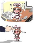 1girl 2koma abe_nana angry animal_ears blush closed_eyes comic happy highres idolmaster idolmaster_cinderella_girls index_finger_raised minigirl mouse multiple_views open_mouth petting rabbit_ears table tantrum translated tsunamayo