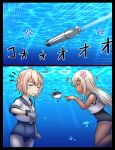+++ 2girls :d ^_^ blowfish closed_eyes comic fish flower grey_eyes hair_flower hair_ornament highres i-58_(kantai_collection) kantai_collection long_hair multiple_girls ocean open_mouth pink_eyes pink_hair ro-500_(kantai_collection) school_swimsuit school_uniform serafuku short_hair silver_hair smile submerged swimsuit swimsuit_under_clothes tan tanline torpedo translation_request tsukemon