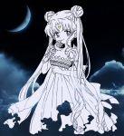 1girl bishoujo_senshi_sailor_moon bukiko crescent_moon double_bun dress facial_mark forehead_mark holding light_smile long_hair maboroshi_no_ginzuishou moon moon_stick princess_serenity solo tsukino_usagi twintails very_long_hair