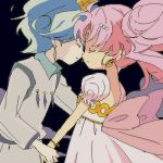 1boy 1girl bishoujo_senshi_sailor_moon black_background bukiko chibi_usa closed_eyes earrings from_side hair_bun helios_(sailor_moon) hetero holding_hands incipient_kiss jewelry lowres oekaki pink_hair profile small_lady_serenity white_hair
