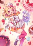 +_+ 2girls :d apron black_shoes blonde_hair blueberry bow cake cheesecake chef_hat cupcake dress flower_knight_girl food food_themed_background fruit gloves hands_on_own_face hat hat_bow highres iberis_(flower_knight_girl) looking_at_viewer mg_kurino multiple_girls open_mouth orange_scarf orange_skirt outstretched_hand plaid plaid_skirt pleated_skirt puffy_sleeves purple_dress red_bow red_eyes red_legwear scarf shoes short_hair silver_hair skirt smile spatula star strawberry thigh-highs twintails violet_eyes whipped_cream white_gloves yadorigi_(flower_knight_girl)