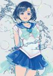 1girl bishoujo_senshi_sailor_moon blue_bow blue_eyes blue_hair blue_skirt bow bubble choker circlet cowboy_shot ear_studs earrings grey_background heart jewelry mizuno_ami open_mouth pleated_skirt sailor_collar sailor_mercury short_hair skirt smile solo super_sailor_mercury teeth water wibi