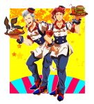 2boys apron collarbone dog drink drinking_straw earrings employee_uniform fast_food_uniform food french_fries grey_eyes hamburger hat headset highres holding_tray iggy_(jojo) jean_pierre_polnareff jewelry jojo_no_kimyou_na_bouken kakyouin_noriaki koma_saburou male_focus multiple_boys open_mouth pink_eyes redhead roller_skates silver_hair skates smile star starry_background tray uniform waist_apron