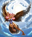 1girl bird breasts claws clouds cloudy_sky commentary_request feathered_wings feathers harpy highres kous_(onetwojustice) large_breasts leotard long_hair looking_at_viewer monster_girl orange_eyes pink_hair seiken_densetsu seiken_densetsu_3 sky solo talons tzenker wings