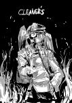 1girl black_background cleaners fire gas_mask hand_on_hip hat highres kantai_collection long_hair monochrome osakana_(denpa_yun'yun) ryuujou_(kantai_collection) simple_background solo tom_clancy's_the_division twintails