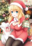 1girl :d black_legwear blonde_hair blue_eyes blush bow box breasts capelet christmas christmas_ornaments christmas_tree cleavage commentary_request fireplace fur_trim gift gift_bag gift_box hat high_heels highres kneeling long_hair long_sleeves looking_at_viewer merry_christmas nanairo_fuuka open_mouth original pantyhose red_shoes sack santa_costume santa_hat shoes smile snowman socks solo stuffed_animal stuffed_toy teddy_bear white_bow