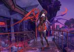 1girl arms_behind_back artist_request black_hair black_legwear building crescent_moon dress full_body highres houjuu_nue industrial long_hair looking_at_viewer mechanical_parts moon outdoors pipes polearm purple_sky railing red_eyes red_moon red_shoes ribbon scissor_blade scissors shoes short_dress smoke snake solo source_request spear stairs standing thigh-highs torn_leggings touhou trident weapon wings zettai_ryouiki