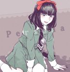 1girl bangs blush bow copyright_name dated hair_bow looking_at_viewer mole mole_under_mouth nail_polish necktie peggy_(pixiv9540913) persona persona_1 school_uniform short_hair skirt smile solo sonomura_maki