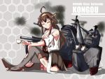 1girl :d ^_^ ahoge boots breasts broken broken_weapon brown_hair bruise character_name cleavage closed_eyes commentary_request cup detached_sleeves double_bun grin hairband holding injury kantai_collection kongou_(kantai_collection) long_hair looking_at_viewer machinery nontraditional_miko open_mouth pleated_skirt skirt smile smoke solo teacup thigh-highs thigh_boots torn_clothes turret weapon yukimi_unagi