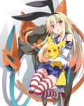 1girl animal animal_ears blonde_hair boots closed_eyes commentary_request deoxys elbow_gloves gloves high_heel_boots high_heels highres holding holding_animal kantai_collection long_hair long_tail looking_to_the_side mtu_(orewamuzituda) open_mouth pikachu pleated_skirt pokemon pokemon_(creature) rabbit_ears sailor_collar sailor_shirt shimakaze_(kantai_collection) shirt skirt sleeveless sleeveless_shirt smile striped striped_legwear tentacles thigh-highs yellow_eyes