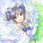 1girl bangs bouquet bow collarbone commentary_request dress drill_hair eyebrows eyebrows_visible_through_hair flower from_above gloves grass hair_between_eyes hair_flower hair_ornament hand_up holding holding_bouquet holding_flower idolmaster idolmaster_cinderella_girls idolmaster_cinderella_girls_starlight_stage kanzaki_ranko long_hair looking looking_at_viewer maou(demonlord) open_mouth outstretched_hand petals raised_hand ribbon silver_hair sketch sleeveless sleeveless_dress smile solo spaghetti_strap twintails twitter_username violet_eyes white_dress white_gloves