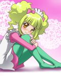 awa blonde_hair blush bow green_legwear jewel_pet jewelpet jewelpet_(series) lace leg_hug lowres maid_cap maid_headdress on_ground orange_eyes pantyhose shadow short_twintails sitting smile solo twintails