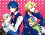 4boys beanie blonde_hair blue_eyes blue_hair child diego_brando dio_brando hat horseshoe johnny_joestar jojo_no_kimyou_na_bouken jonathan_joestar multiple_boys red_eyes sewenan steel_ball_run tears young