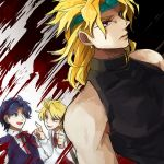 3boys adult blonde_hair blood blue_eyes blue_hair dio_brando dual_persona headband heart jojo_no_kimyou_na_bouken multiple_boys red_eyes sewenan young