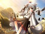 animal_ears bird crow detached_sleeves feathers hat inubashiri_momiji kei_(pixiv) kei_kei mountain silver_hair socks solo sword tail tokin_hat touhou weapon wolf_ears wolf_tail yellow_eyes