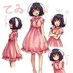 1girl :d animal_ears black_hair carrying crossed_arms dress inaba_tewi jewelry looking_at_viewer musical_note necklace open_mouth pink_dress rabbit_ears red_eyes rough short_hair simple_background smile solo touhou translation_request white_background yanagida_fumita
