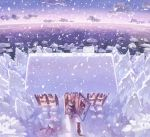 blonde_hair braid cold dog door highres house icicle long_hair original scenery shimetta_oshime shovel sky snow window winter winter_clothes worktool