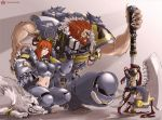 axe beard breasts circle_a claws couple facial_hair genderswap heresy midriff pointy_ears red_hair redhead space_marines space_wolves warhammer_40k weapon wolf