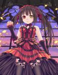 1girl bare_shoulders black_hair clock date_a_live dress garter_straps hairband headdress heterochromia ikeda_yuuki lolita_fashion lolita_hairband long_hair looking_at_viewer red_eyes skull smile thigh-highs tokisaki_kurumi yellow_eyes zettai_ryouiki