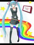 arms_behind_back belt blue_eyes blush casual hair_ribbon hatsune_miku koumei_(artist) legs long_hair rainbow rainbow_path ribbon skirt smile thigh-highs thighhighs twintails very_long_hair vocaloid zettai_ryouiki