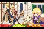 absurdres apple armor bad_id blonde_hair blush cat eating fantasy food fruit highres long_hair original pointy_ears short_hair stairs sword town weapon