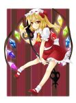 flandre_scarlet hat hitsugi_kaname laevatein mary_janes ponytail red_eyes shoes short_hair side_ponytail solo touhou wings