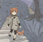 1girl cute czechonski ears eyes fox imaginatoria kawaii kitsune kitsunemimi little marcin mimi mountain night purple stairs tail