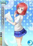 blush character_name love_live!_school_idol_project nishikino_maki paper pen purple_eyes redhead seifuku short_hair skirt