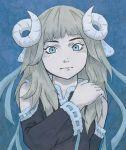 1girl blue blue_eyes cute czechonski girl hair horns imaginatoria kawaii long marcin mouton project ribbons sheep solo