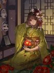 1girl brown_hair cage closed_mouth flower full_body furisode hand_in_hair head_tilt holding japanese_clothes kimono light_smile looking_at_viewer mask_on_head noh_mask obi oni_mask original petals photo_(object) picture_frame red_eyes rwael sash seiza sitting solo tatami