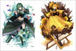 2girls aku_no_musume_(vocaloid) black_legwear blonde_hair blue_eyes boots braid broken_glass bullet bullet_hole castle corset crop_top crossdraw_holster detached_sleeves disembodied_head domino_mask dress evil_smile flower frame frilled_dress frills frown glass green_hair gumi gun handgun high_ponytail holster kagamine_rin letter long_skirt lyodi mask mask_over_one_eye multiple_girls nemesis_no_juukou_(vocaloid) pantyhose pointing pointing_at_viewer regret_message_(vocaloid) revolver rose saigo_no_revolver_(vocaloid) side_braid skirt smile songover thorns vocaloid waist weapon white_flower yellow_dress yellow_rose