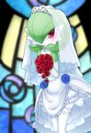 1girl bare_shoulders blue_flower blue_rose blurry blurry_background blush bouquet bridal_veil choker closed_mouth clothed_pokemon colored_skin commentary_request detached_sleeves dress flat_chest floral_print flower gardevoir gem gen_3_pokemon green_skin hands_up happy heart heart_in_eye highres holding holding_bouquet layered_dress leaning_forward legs_together muguet multicolored multicolored_skin pokemon pokemon_(creature) red_eyes red_flower red_rose rose rose_print sapphire_(gemstone) see-through smile solo stained_glass standing symbol_in_eye thigh-highs tiara two-tone_skin veil wedding_dress white_choker white_dress white_legwear white_skin white_sleeves