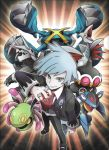 1boy aggron armaldo claydol clenched_hand cradily grey_eyes highres holding holding_poke_ball jewelry looking_at_viewer male_focus mega_stone metagross official_art poke_ball pokemon pokemon_(creature) ring scan silver_hair skarmory smile tsuwabuki_daigo