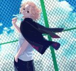 1boy black_eyes black_jacket black_pants blonde_hair closed_mouth clouds cowboy_shot day empty_eyes fence food hand_in_pocket highres holding holding_food jacket jacket_on_shoulders light_particles male_focus medium_hair meimei_(cb_mei) outdoors pants popsicle sano_manjirou shirt short_sleeves smile solo standing tokyo_revengers white_shirt