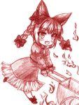 1girl animal_ears blush bow braid cart cat_ears cat_tail fang fire hair_bow kaenbyou_rin monochrome open_mouth pushcart solo tail touhou twin_braids yuran_(kuen-hien)