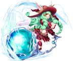 1girl animal_ears artist_request black_gloves breasts drill_hair fiore_burnelli gloves green_hair hair_ornament hat large_breasts long_hair looking_at_viewer official_art open_mouth orange_eyes revealing_clothes simple_background solo star_ocean star_ocean_integrity_and_faithlessness twin_drills white_background witch_hat