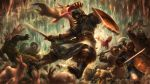 animal axe cave chainmail dragon's_crown helmet highres multiple_boys rabbit sharp_teeth shield stalactite sword teeth weapon