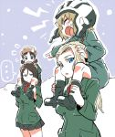 ... 4girls bangs black_hair blonde_hair blue_eyes boots breasts brown_hair carrying clara_(girls_und_panzer) closed_eyes commentary_request fang fur_hat girls_und_panzer hair_between_eyes hand_on_another's_head hat helmet hibimegane holding_legs jacket katyusha large_breasts looking_at_breasts looking_to_the_side low_twintails military military_uniform multiple_girls nina_(girls_und_panzer) nonna open_mouth parted_bangs pleated_skirt pointing shoulder_carry sketch skirt snow spoken_ellipsis spoken_sweatdrop sweatdrop twintails uniform ushanka wide-eyed