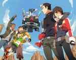 1girl 5boys aang appa arm_around_shoulder artist_name avatar:_the_last_airbender bespectacled black_hair blue_sky bolin brown_hair clouds company_connection cropped_jacket dark_skin fingerless_gloves glasses gloves golion_(cosplay) golion_(mecha) hand_in_pocket headband hunk_(voltron) hunk_(voltron)_(cosplay) hyakujuu-ou_golion katara keith_(voltron) keith_(voltron)_(cosplay) lance_(voltron) lance_(voltron)_(cosplay) long_hair mako_(avatar) multicolored_hair multiple_boys pidge_gundarsson pidge_gundarsson_(cosplay) princess_allura princess_allura_(cosplay) scar shirt shorts sky sky_bison smile sokka striped striped_shirt t_k_g takashi_shirogane takashi_shirogane_(cosplay) tattoo the_legend_of_korra two-tone_hair voltron:_legendary_defender zuko