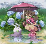 1girl dark_skin flower goomy hydrangea plant pokemon pokemon_(creature) pokemon_(game) pokemon_xy puddle rain sana_(pokemon) smile tm_(hanamakisan) umbrella water