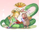 1girl ^_^ blonde_hair bottle bow bowtie branch closed_eyes commentary_request floral_print food fruit gradient gradient_background hair_ornament highres japanese_clothes japanese_macaque kagami_mochi kimono long_hair mandarin_orange meimei_(p&d) monkey mouth_hold mrider new_year obi pink_background puzzle_&_dragons sakazuki sake_bottle sash seiza shadow sitting smile snake tail turtle_shell