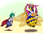 2girls antennae bee bent_over blue_eyes blush cape crossover crown disembodied_limb full_body gloves gradient gradient_background green_hair insect_wings kirby_(series) long_sleeves mary_janes multicolored_background multiple_girls nintendo open_mouth orusuta pants puffy_sleeves queen_sectonia shirt shoes short_hair socks sparkle touhou violet_eyes white_gloves white_legwear wings wriggle_nightbug