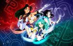 4girls aqua_hair bishoujo_senshi_sailor_moon black_hair blonde_hair blue_eyes choker collarbone crystal_earrings drachea_rannak earrings elbow_gloves gloves green_eyes green_hair hair_bun highres jewelry kaiou_michiru lipstick long_hair makeup meiou_setsuna multiple_girls neptune_symbol outer_senshi pleated_skirt pluto_symbol red_eyes red_lipstick sailor_neptune sailor_pluto sailor_saturn sailor_senshi sailor_uranus saturn_symbol short_hair skirt smile tan ten'ou_haruka tomoe_hotaru uranus_symbol violet_eyes white_gloves
