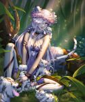 1girl animal animal_ears animal_on_lap armlet blue_eyes boots breasts cleavage closed_mouth dappled_sunlight detached_collar flower forest fur_trim glint grass hair_over_one_eye head_wreath highres jewelry knee_up large_breasts light_rays long_hair looking_at_viewer nature necklace on_ground one_eye_covered original pendant petals pink_flower qi_kou sitting smile solo sparkle strapless sunlight tail thigh-highs thigh_boots tiger tiger_cub tiger_ears tiger_tail tree very_long_hair white_boots white_hair white_tiger wrist_cuffs